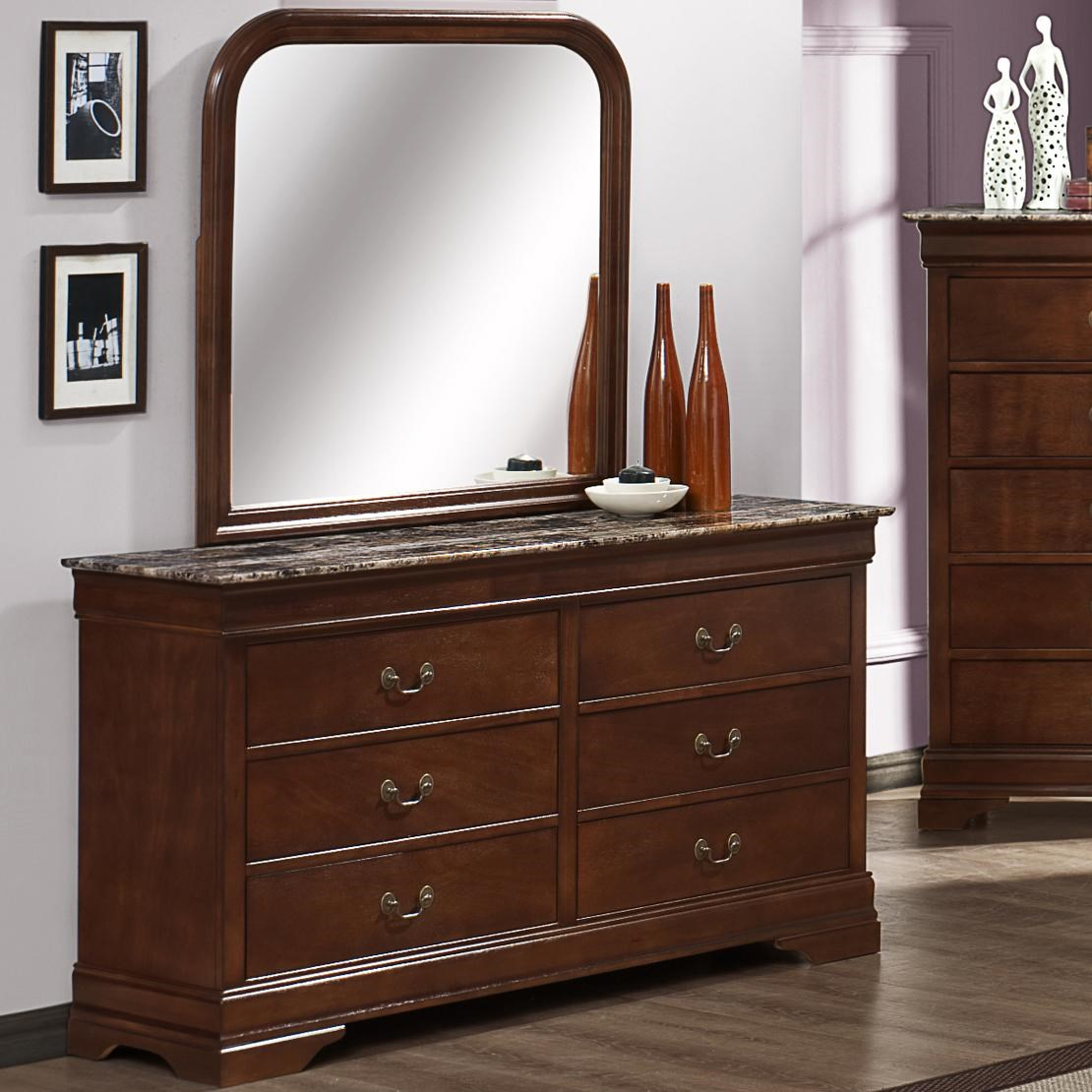 Austin Group Marseille 6 Drawer Dresser With Faux Marble Top And Dresser  Mirror