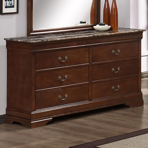 Austin Group Marseille 6-Drawer Dresser with Faux Marble Top