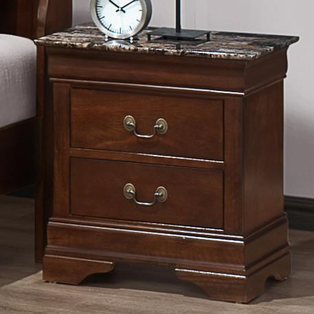 Austin Group Marseille 2 Drawer Night Stand With Faux Marble Top