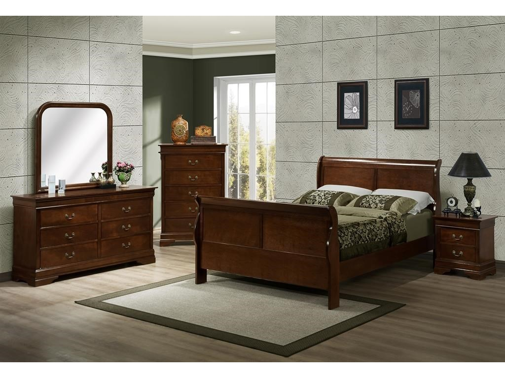 Austin Group MarseilleFull Sleigh Bed, Dresser, Mirror & Nightstsa