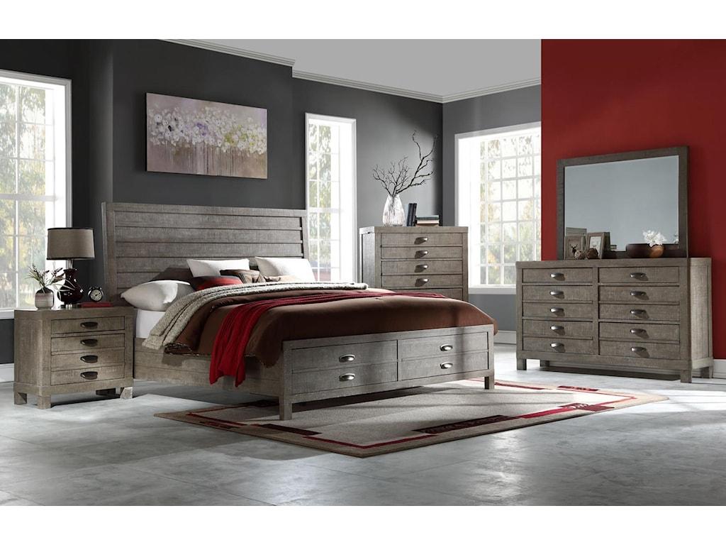 Austin Group TownsendQueen Bed with Dresser, Mirror, & Nightstand