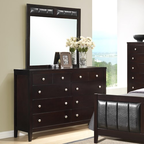 Austin Group Bell Transitional 8 Drawer Dresser & Mirror with Padded Upholstery
