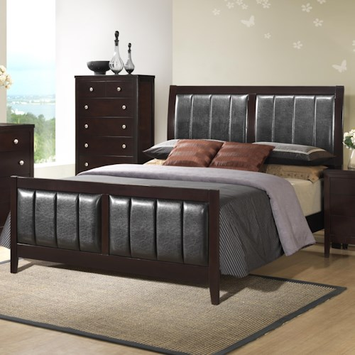 Austin Group Bell Transitional Queen Bed with Upholstered Panels