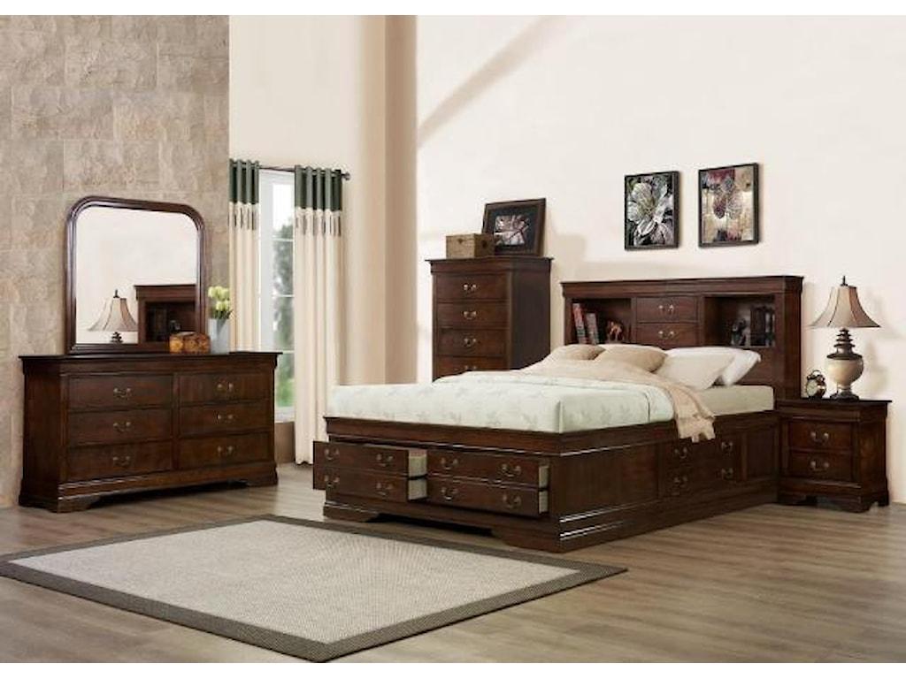 Austin Group Big LouisKing Storage Bed, Dresser, Mirror & Nighstan