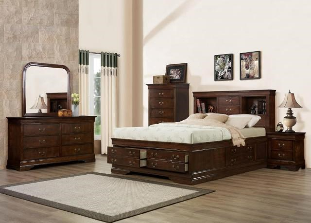 Austin Group Big LouisKing Storage Bed, Dresser, Mirror & Nighstan
