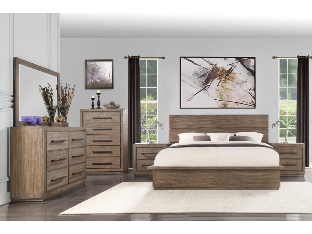 Austin Group HavenKing Bed with Dresser, Mirror, and Nightstan