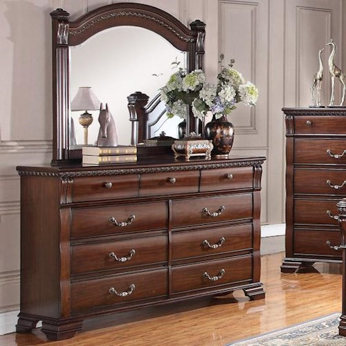 Austin Group Isabella 527 Traditional 9 Drawer Dresser and Beveled ...