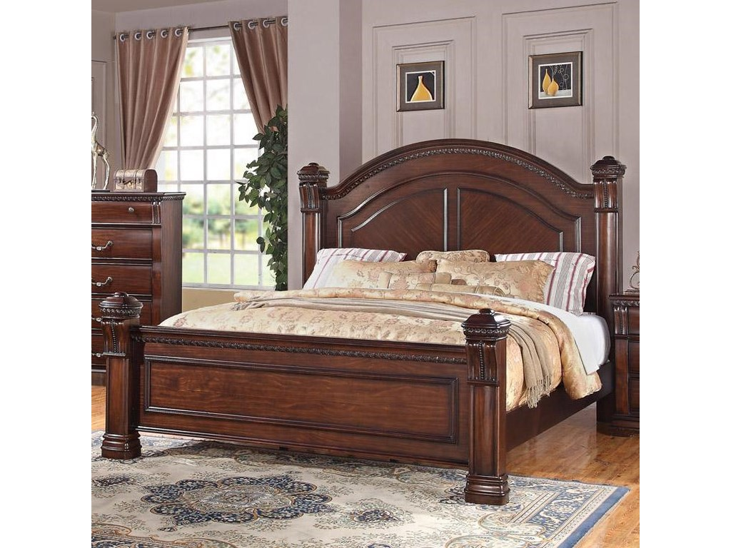 Austin Group Isabella Traditional King Bed With Square Finials And