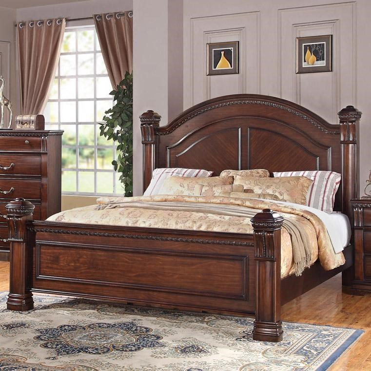 Austin Group Isabella 527 Traditional King Bed With Square Finials And Round Headboard Royal Furniture Footboard