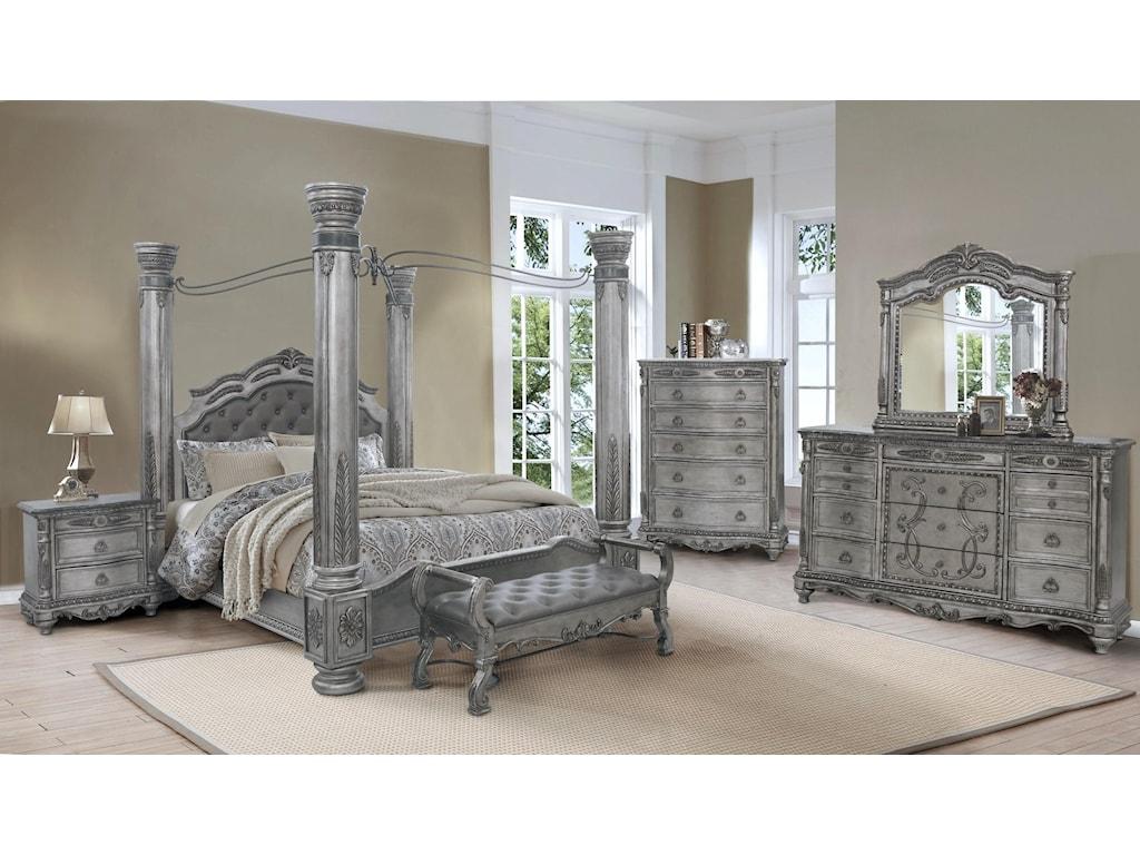 Avalon Antique PlatinumKing Canopy Bed, Dresser and Mirror