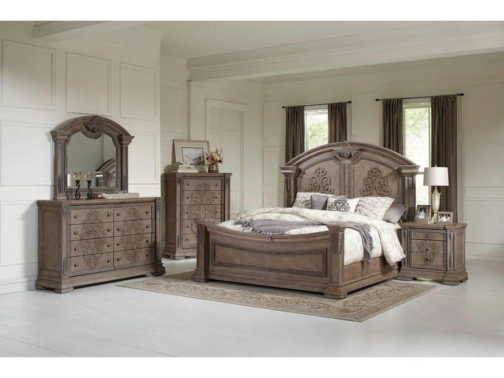 Avalon Furniture TuscanyKing Panel Bed, Dresser, Mirror, and Nightst