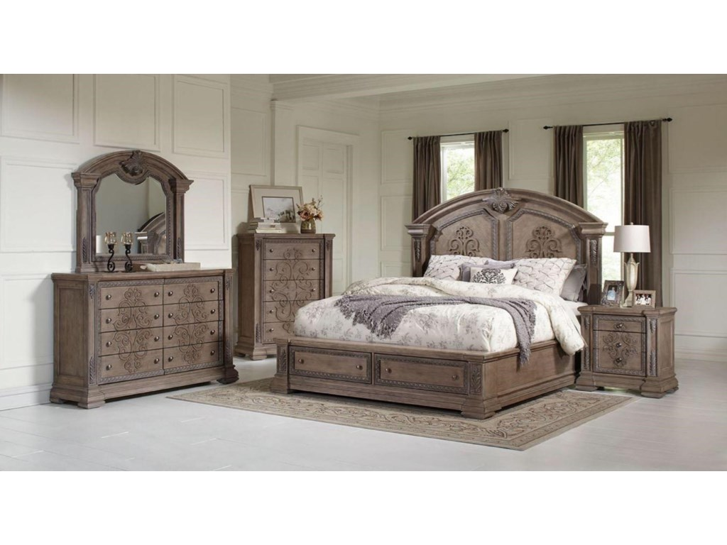Avalon Furniture TuscanyQueen Storage Bed, Dresser, Mirror & Nightst