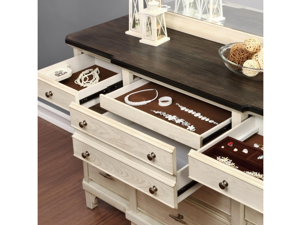 Avalon Furniture Mystic CayDresser and Mirror