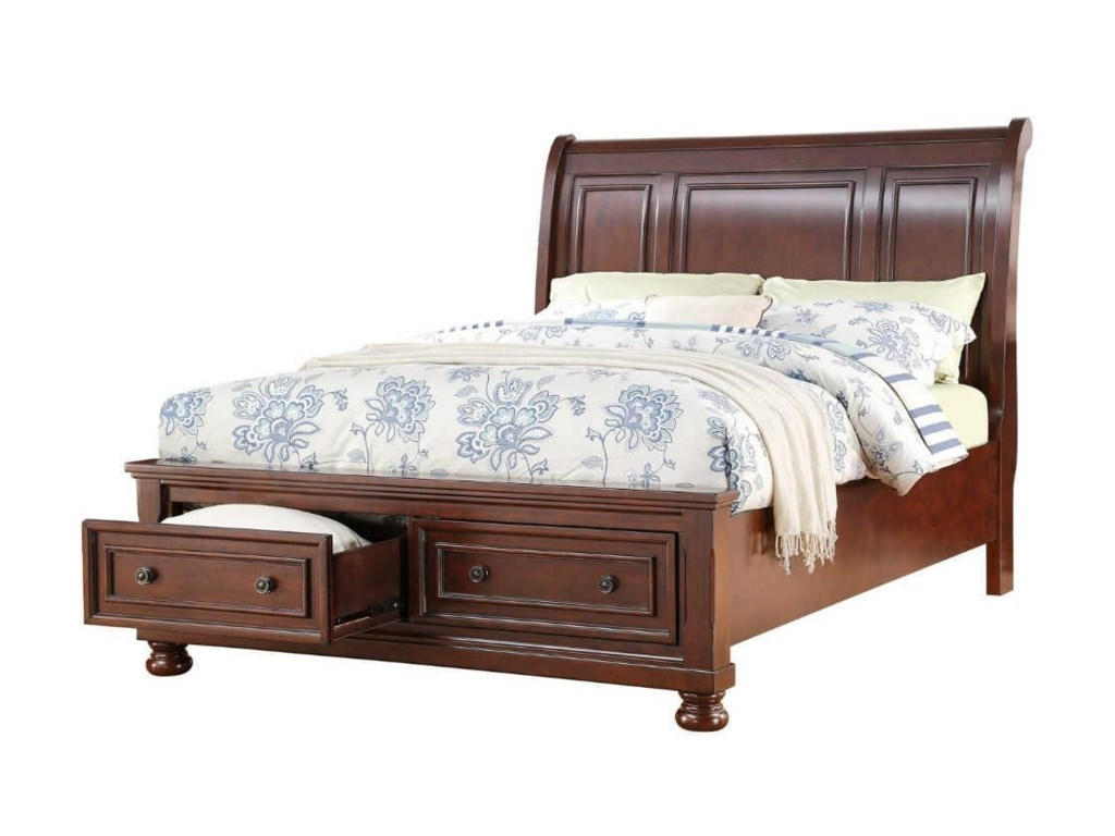 King storage beds with drawers - Avalon Furniture Sophia King Storage Bed Great American Home Store Sleigh Beds
