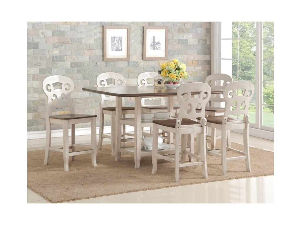 Avalon Furniture Cameo7-Pc Pub Table and Chair Set