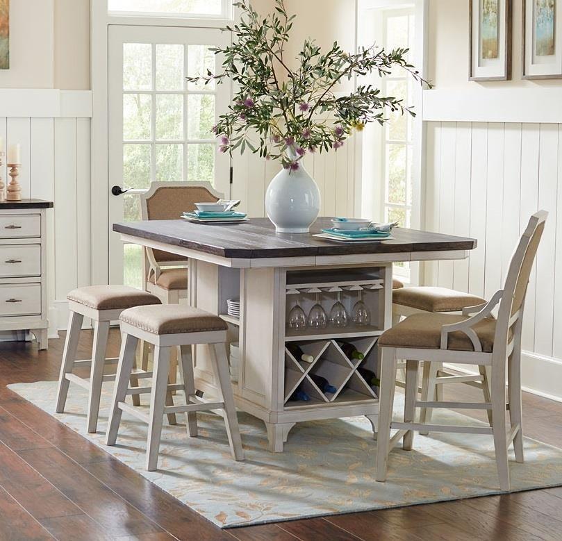 Kitchen Island 4 Stools avalon furniture mystic cay kitchen island, 4 backless stools & 2