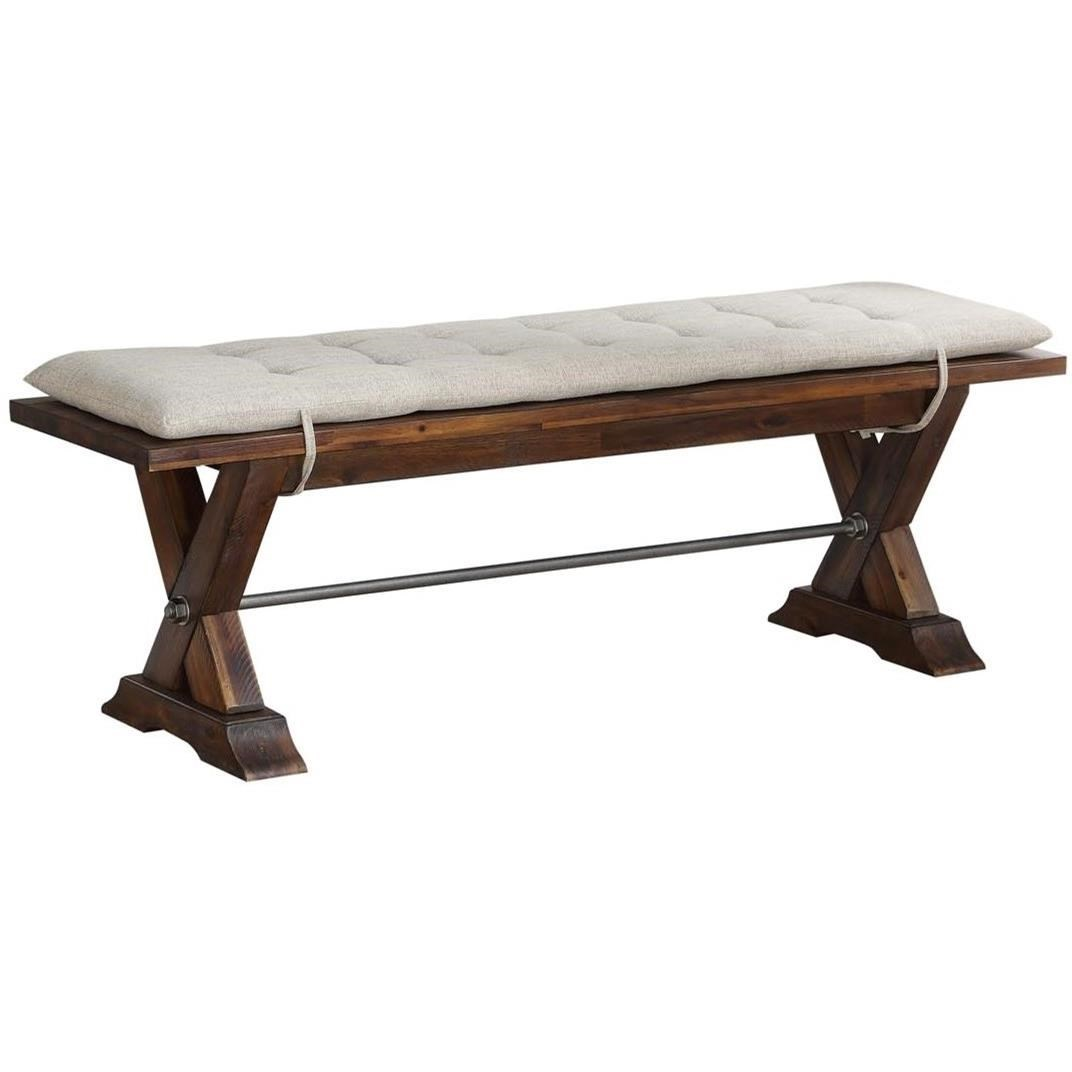 Avalon Furniture D526 Rustic Solid Wood Dining Bench With Tie On Cushion