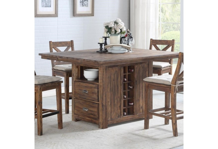 Avalon Furniture D526 Rustic Solid Wood Kitchen Island With Built In Bottle Storage Wilcox Furniture Kitchen Islands
