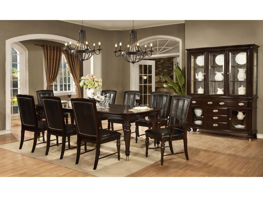 Avalon Furniture Dundee Place9 Piece Leg Table with 2 Leaf Set