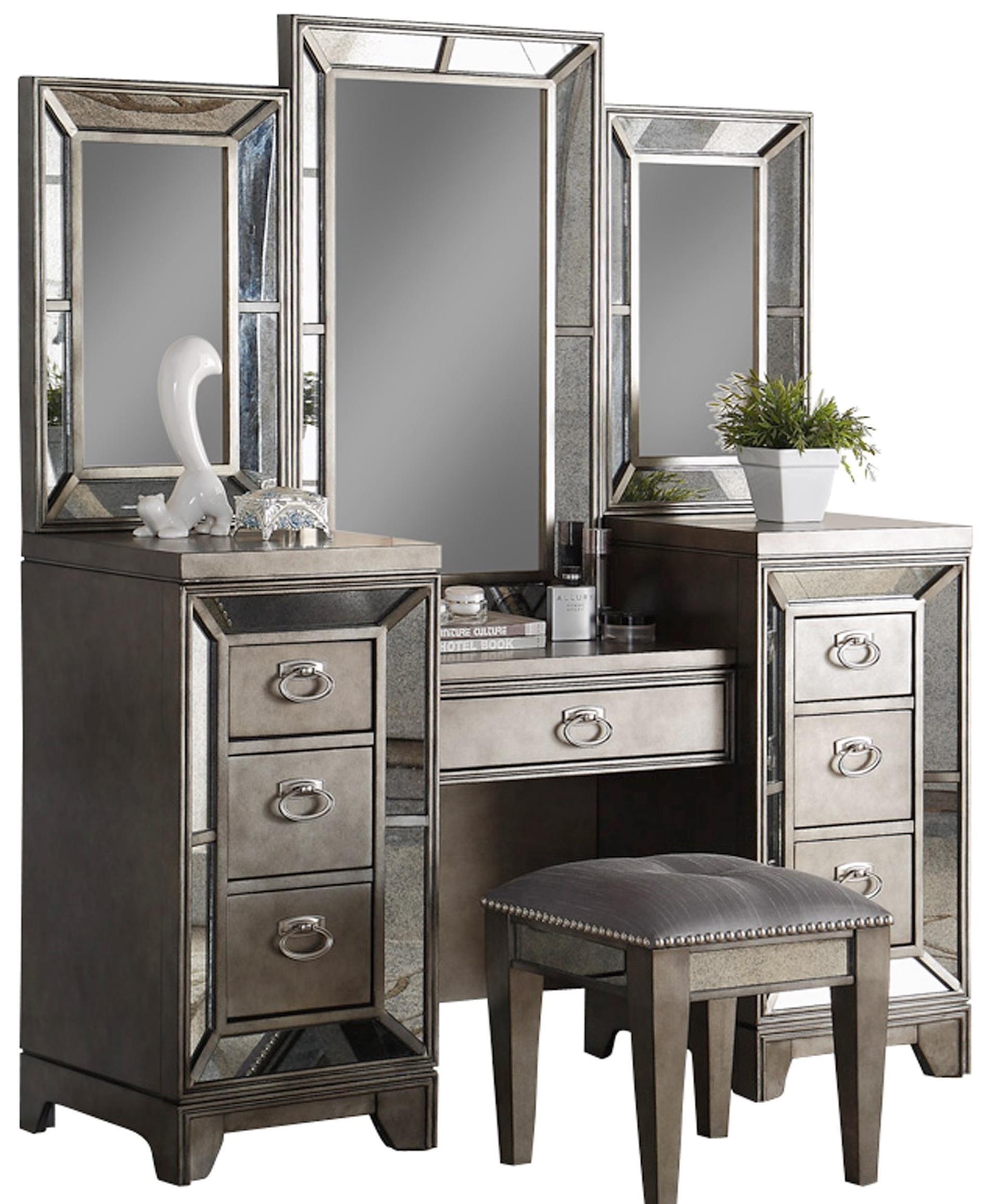 Avalon Furniture Lenox Antique Mirror Vanity