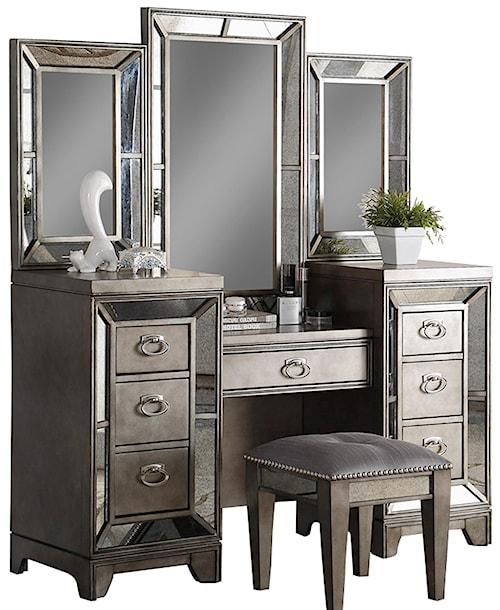 Avalon Furniture Lenox Antique Mirror Vanity - Antique Mirror Vanity - Lenox By Avalon Furniture - Wilcox