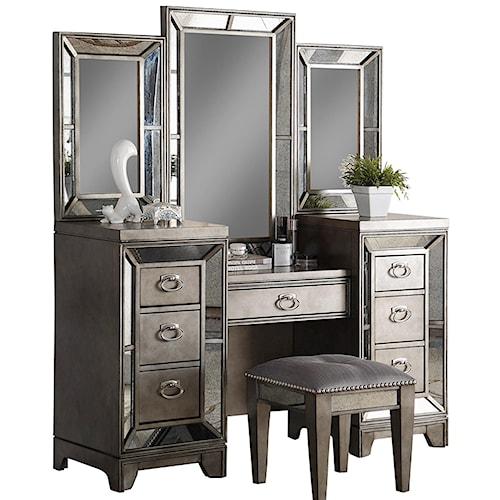 Avalon Furniture Lenox Antique Mirror Vanity - Antique Mirror Vanity - Lenox By Avalon Furniture - Wilcox Furniture