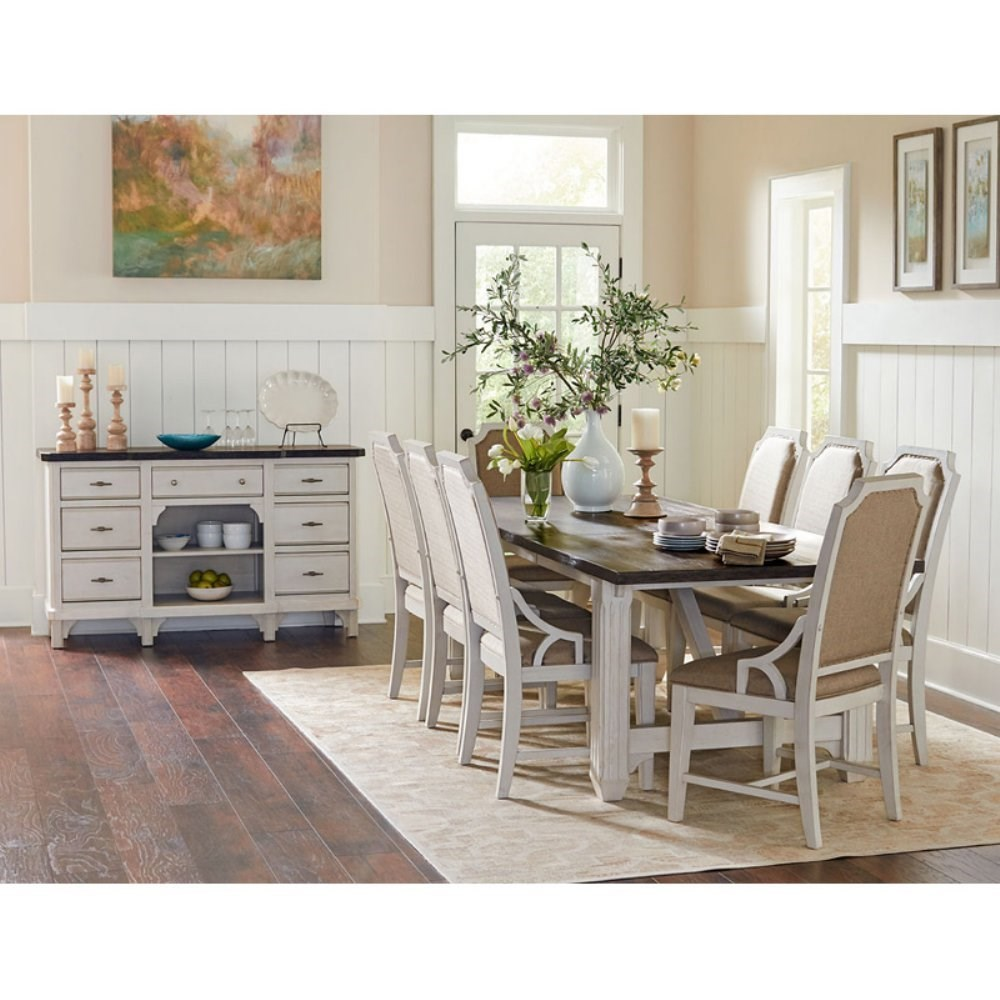 Elegant Avalon Furniture Mystic Cay Formal Dining Group
