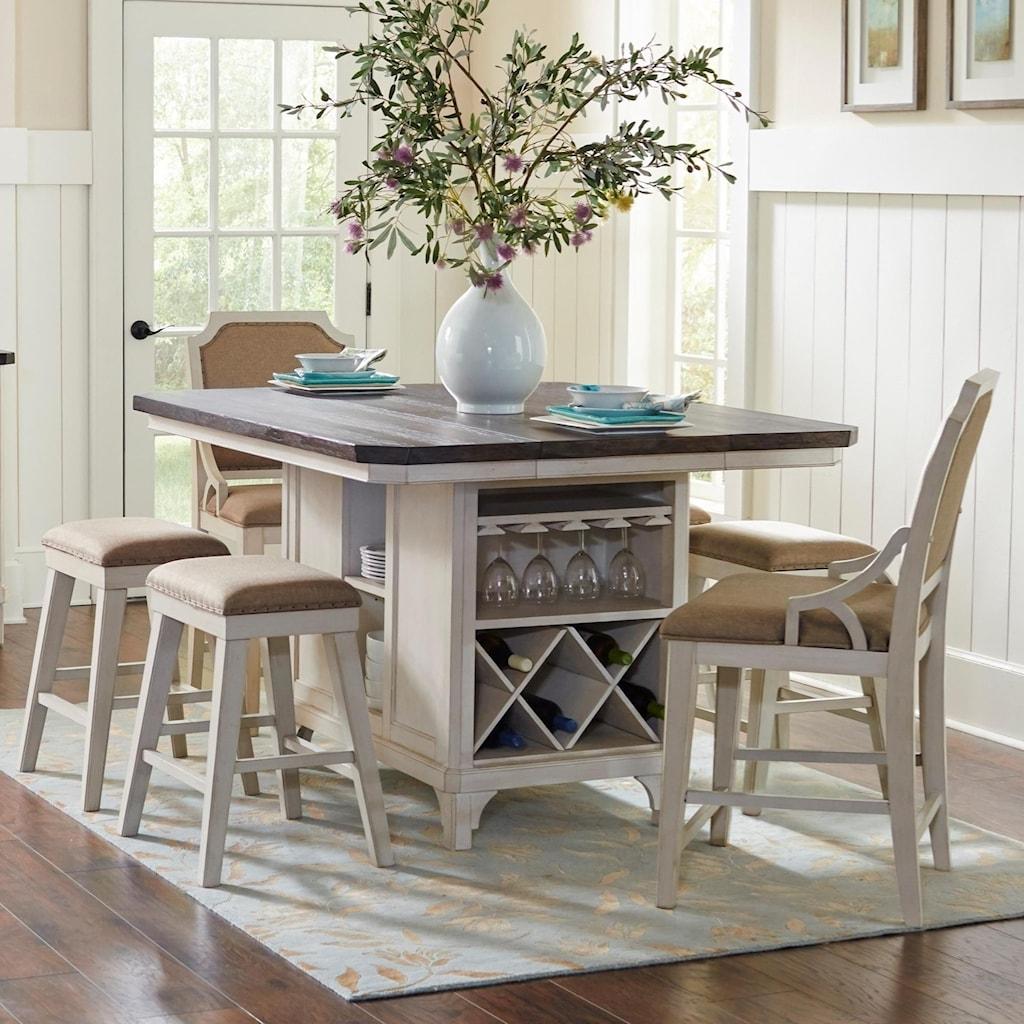 avalon furniture mystic cay 7-piece kitchen island table set