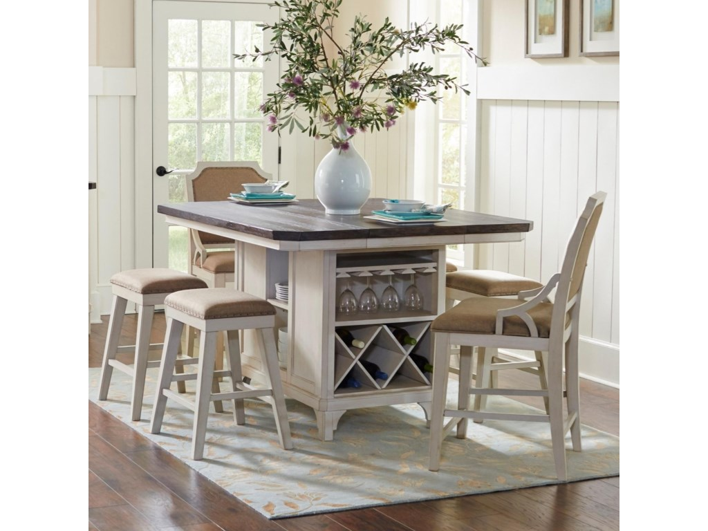 Avalon Furniture Mystic Cay 7-Piece Kitchen Island Table Set ...