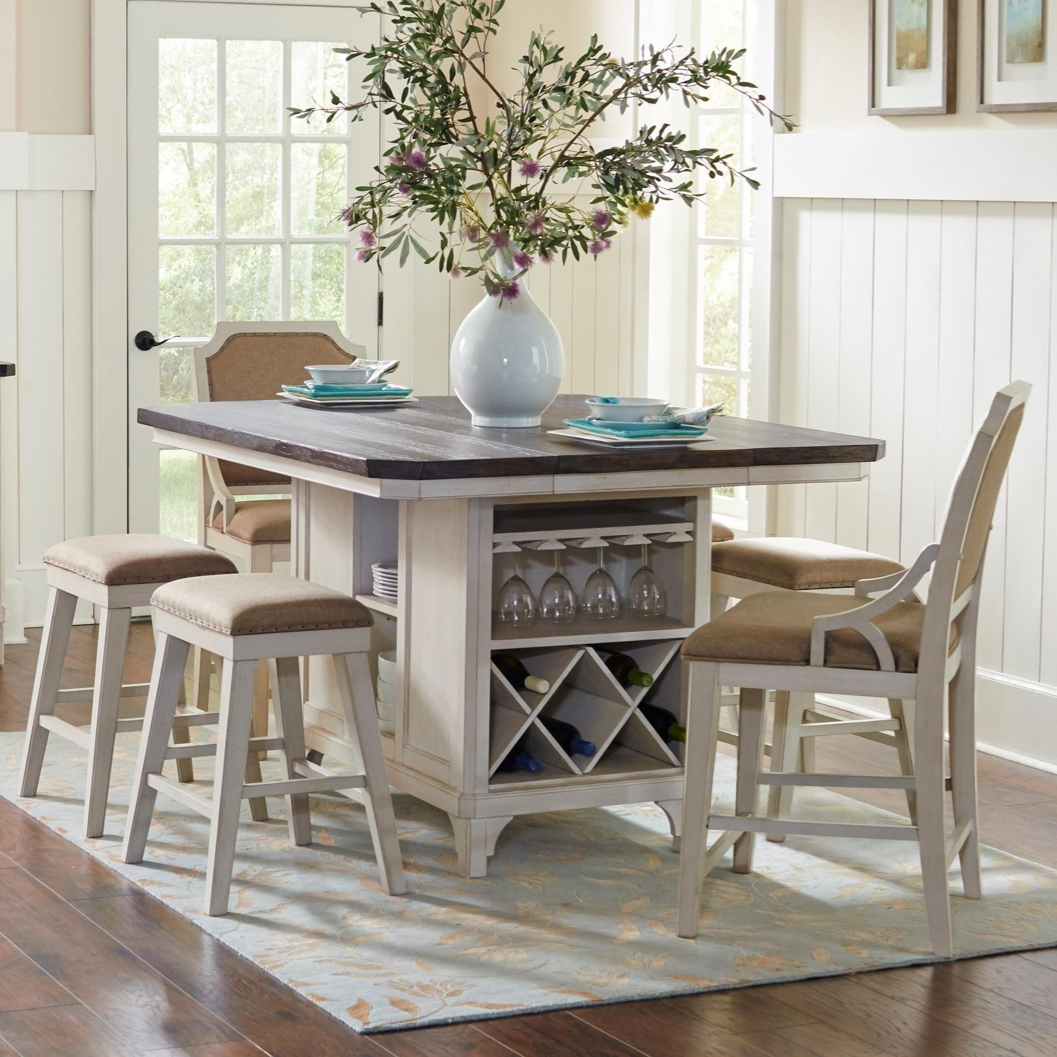 Avalon Furniture Mystic Cay7 Piece Kitchen Island Table Set ...