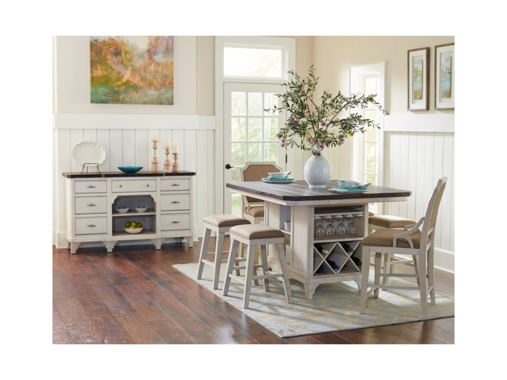 Avalon Furniture Mystic Cay7-Piece Kitchen Island Table Set
