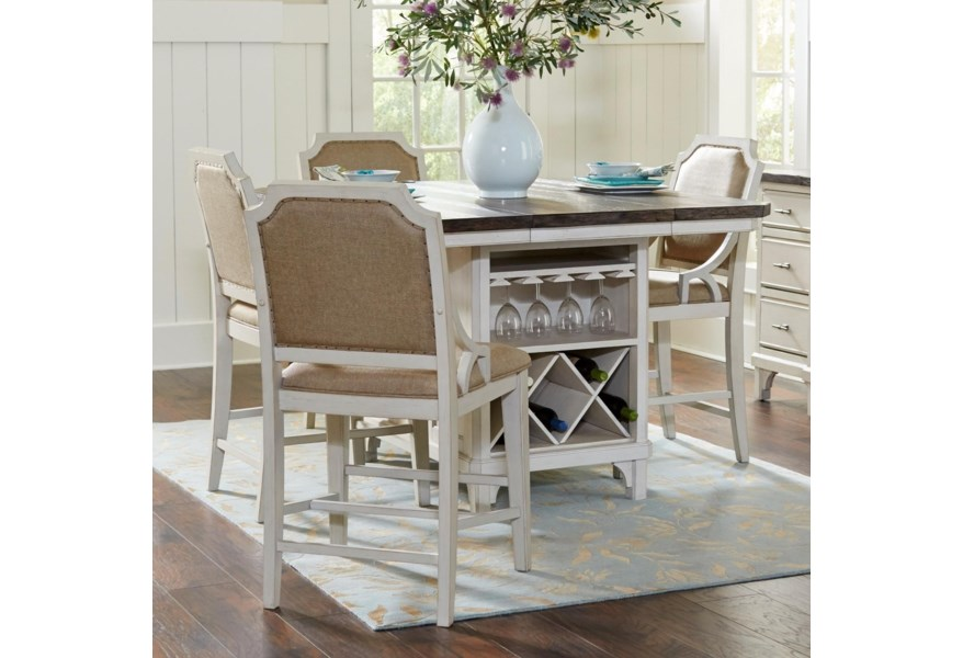 Avalon Furniture Mystic Cay 5-Piece Kitchen Island Table Set ...