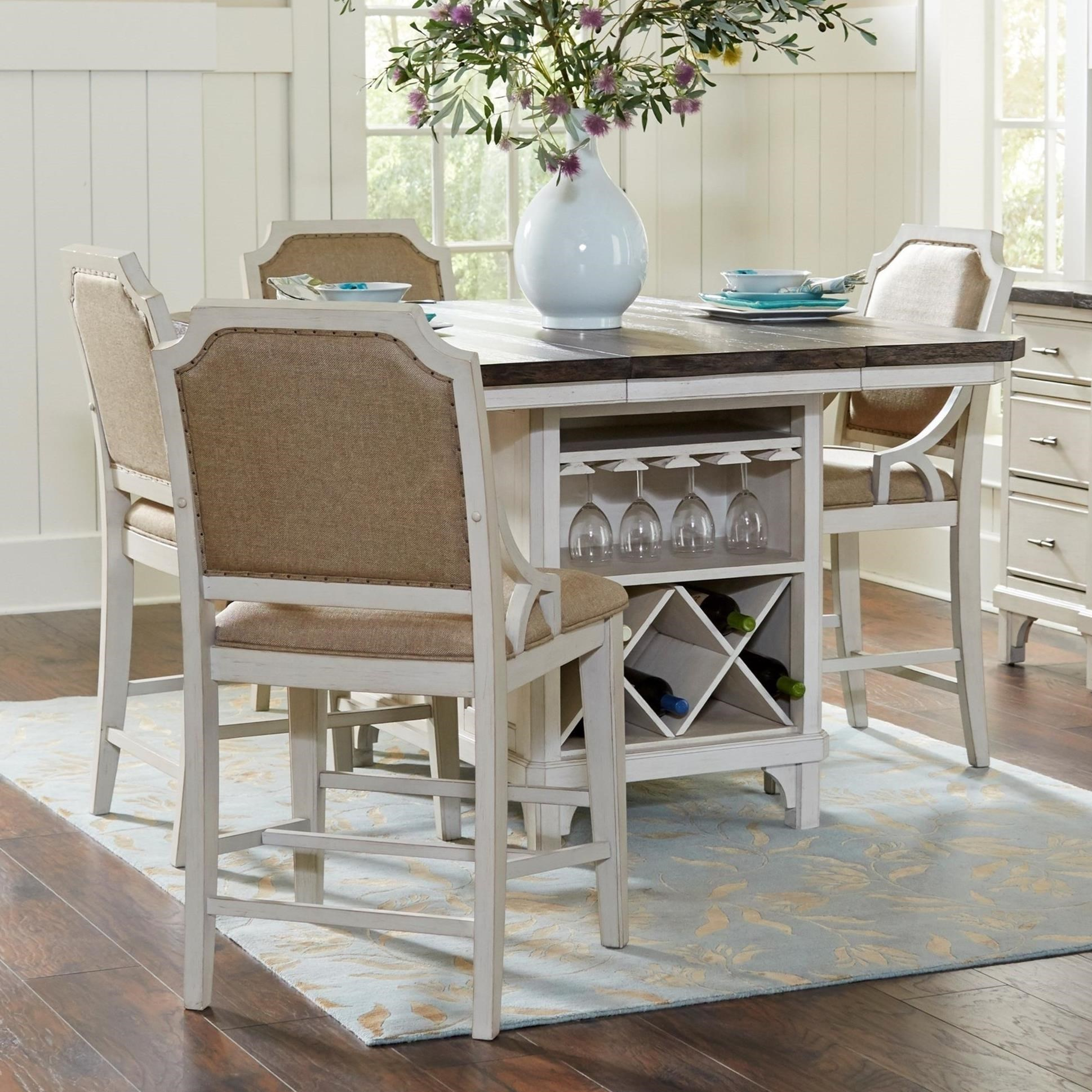Avalon Furniture Mystic Cay 5 Piece Kitchen Island Table Set