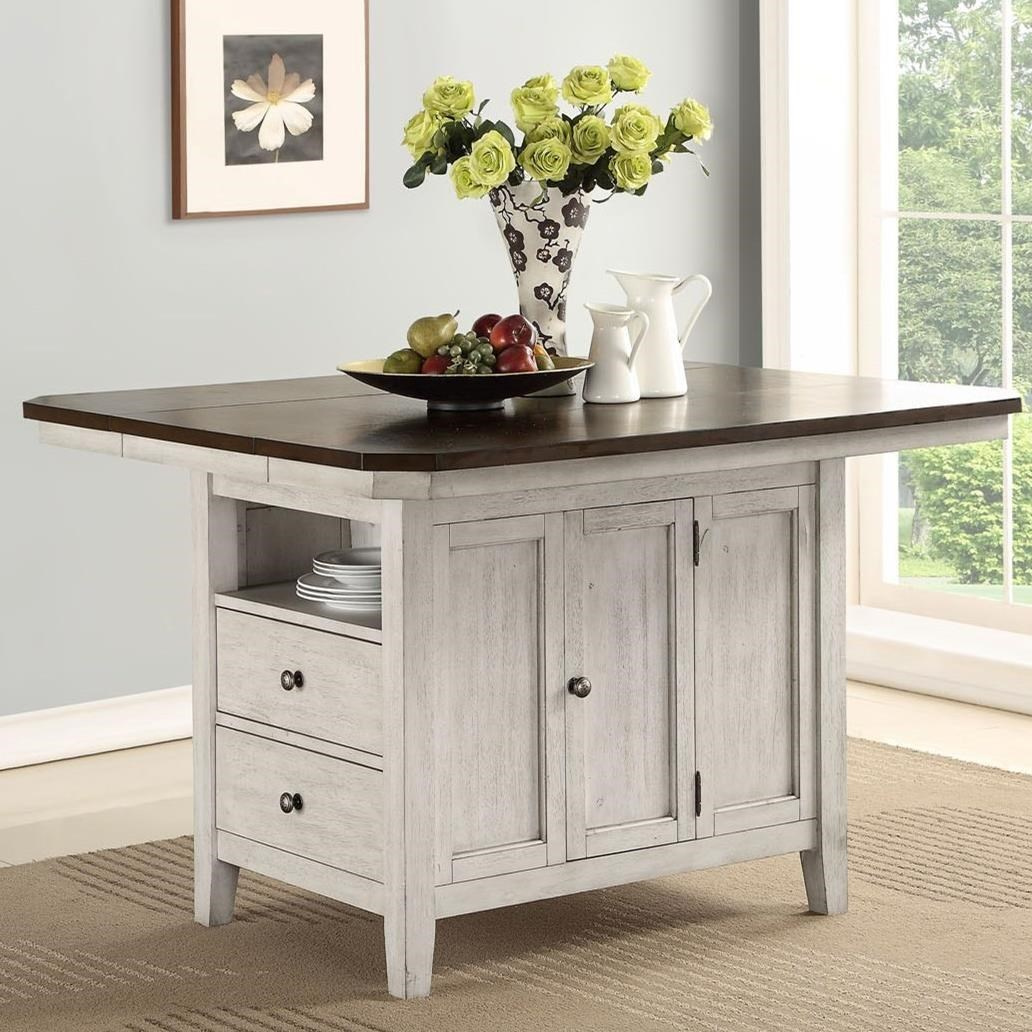 Avalon Furniture Newport Relaxed Vintage Kitchen Island With Leaf