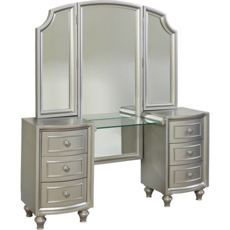 Vanity with Tri Fold Mirror
