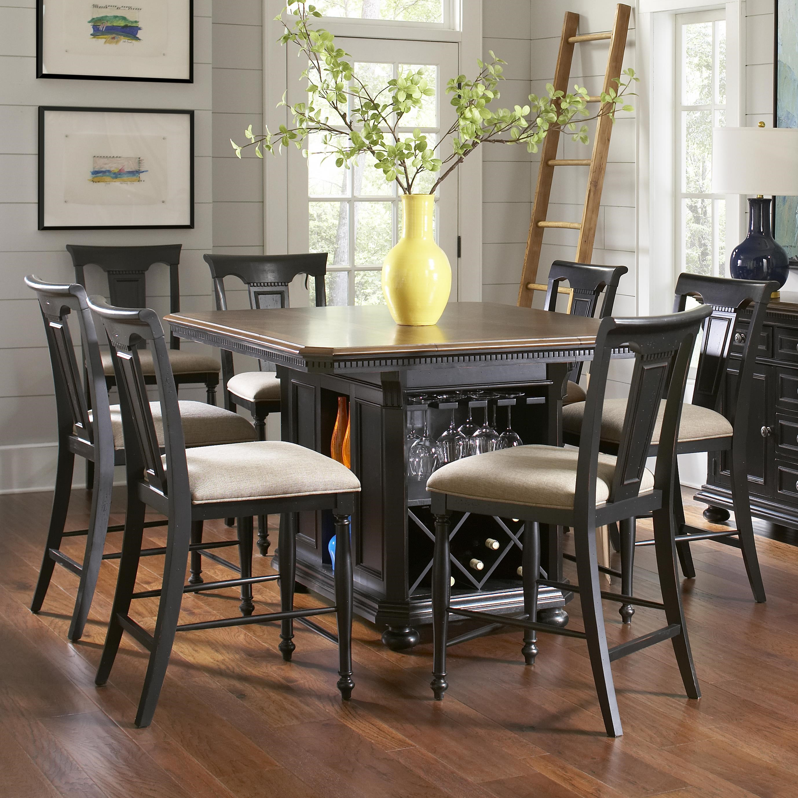 Medium image of avalon furniture rivington hall traditional 7 piece kitchen island counter table set