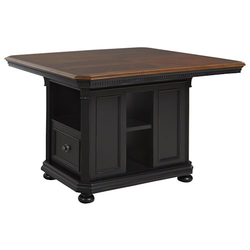Avalon Furniture Rivington Hall Traditional Counter Table Kitchen Island With Leaf