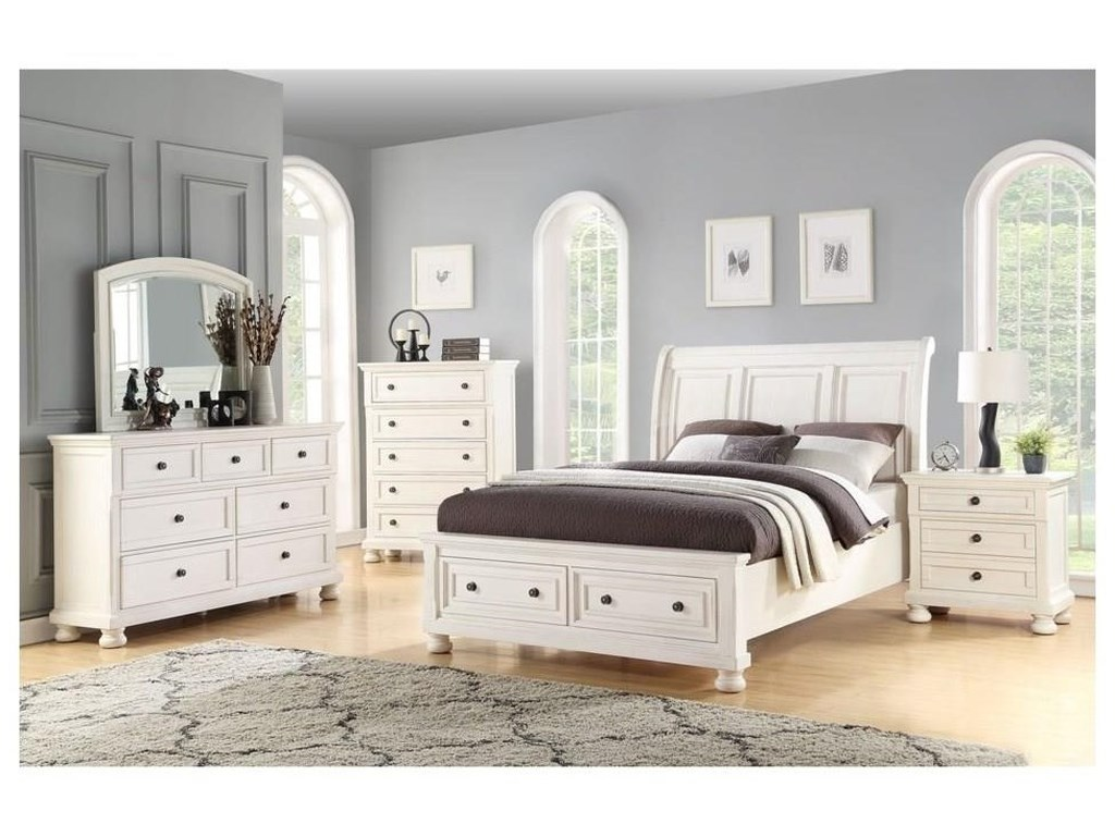 Avalon Furniture SavannahKing Storage Bed, Dresser, Mirror & Nightsta