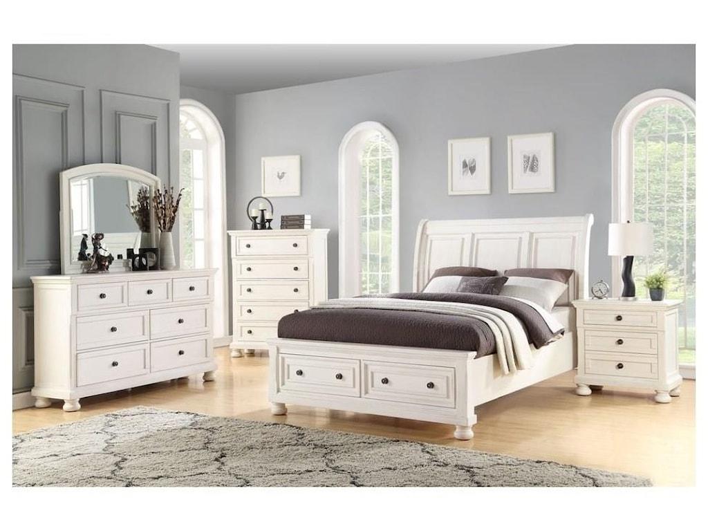 Avalon Furniture SavannahQueen Storage Bed, Dresser, Mirror & Nightst