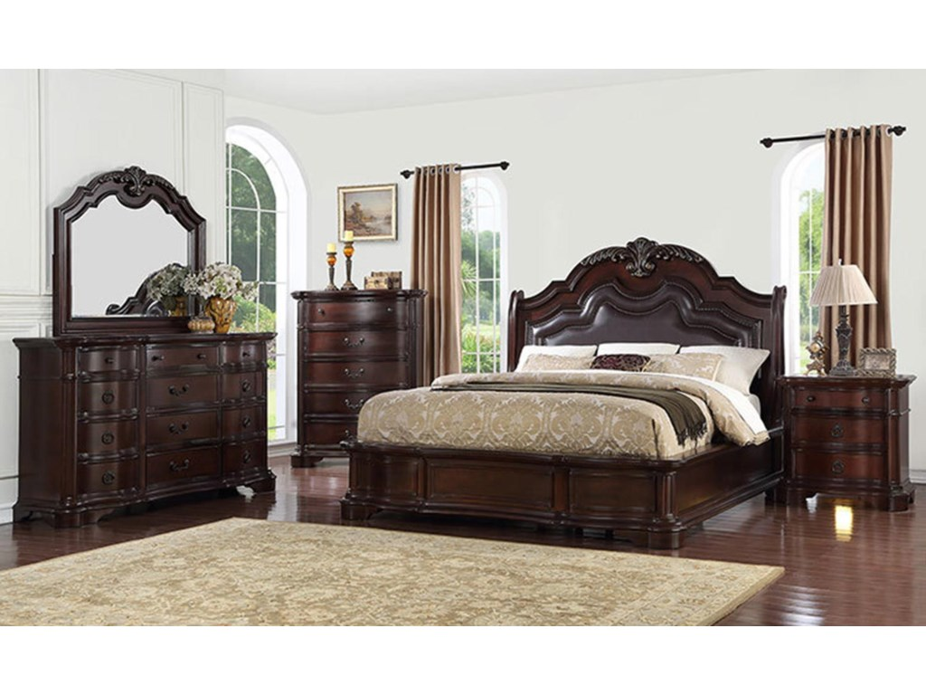 Avalon Furniture Lavon LakeKing Bed, Dresser, Mirror, and Nightstand wi