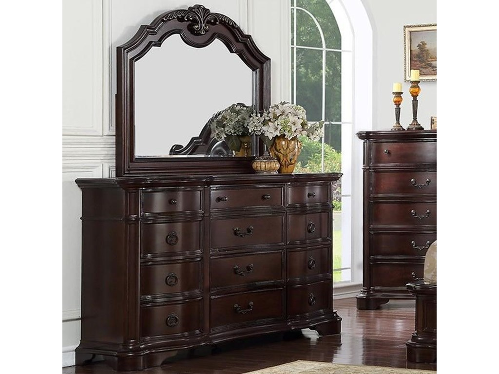 Avalon Furniture St Louis Traditional 12 Drawer Dresser and Mirror ...
