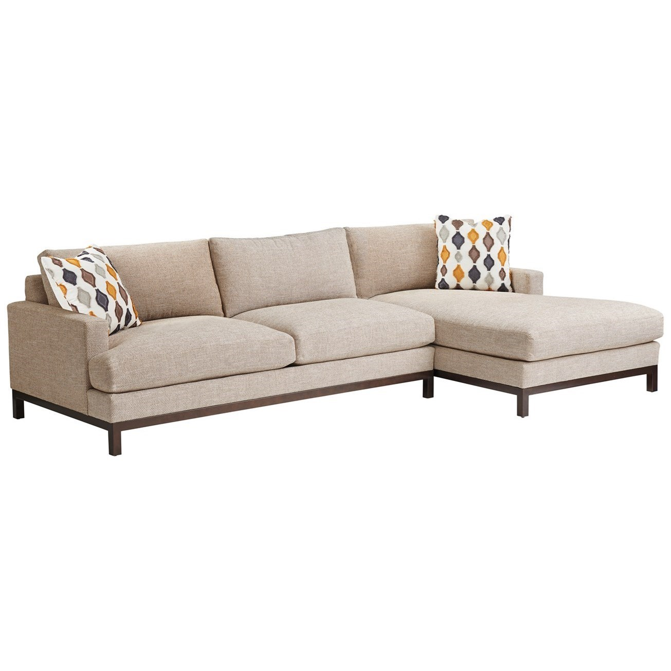 2-Piece Sectional Sofa with Bronze Base & RAF Chaise Lounge