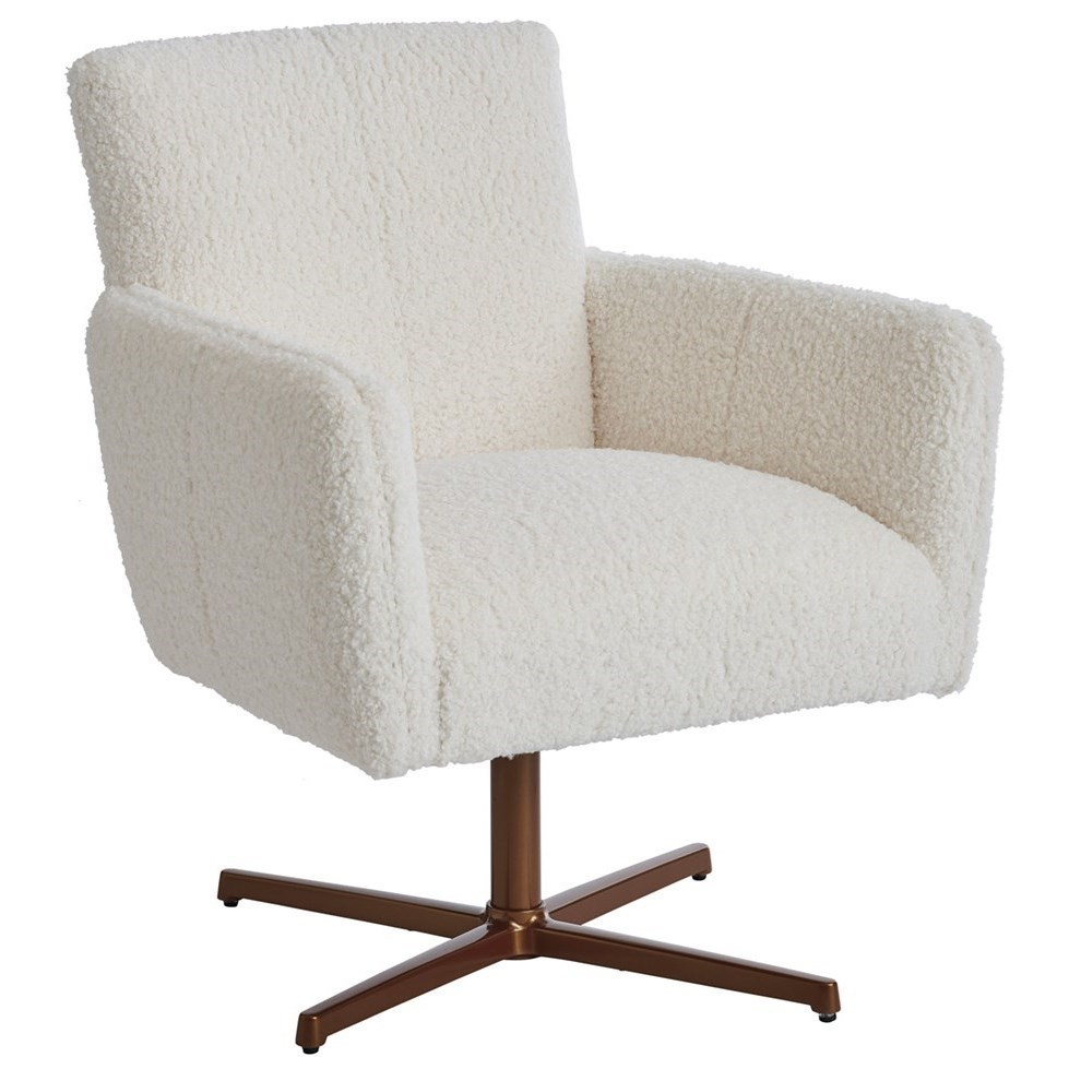 Brooks Upholstered Swivel Chair with Brass Base