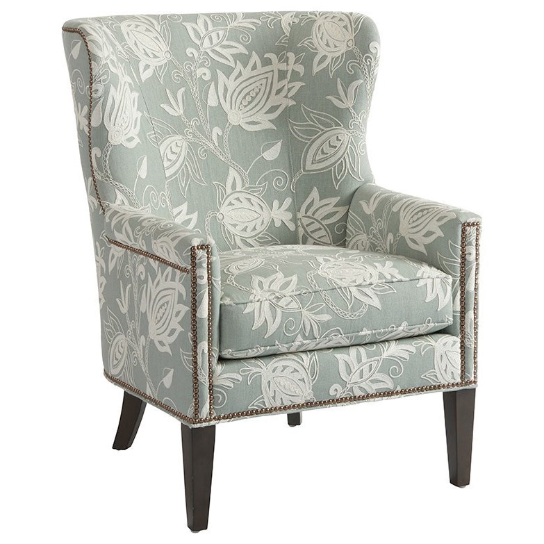 Avery Wing Chair with Nailhead Border