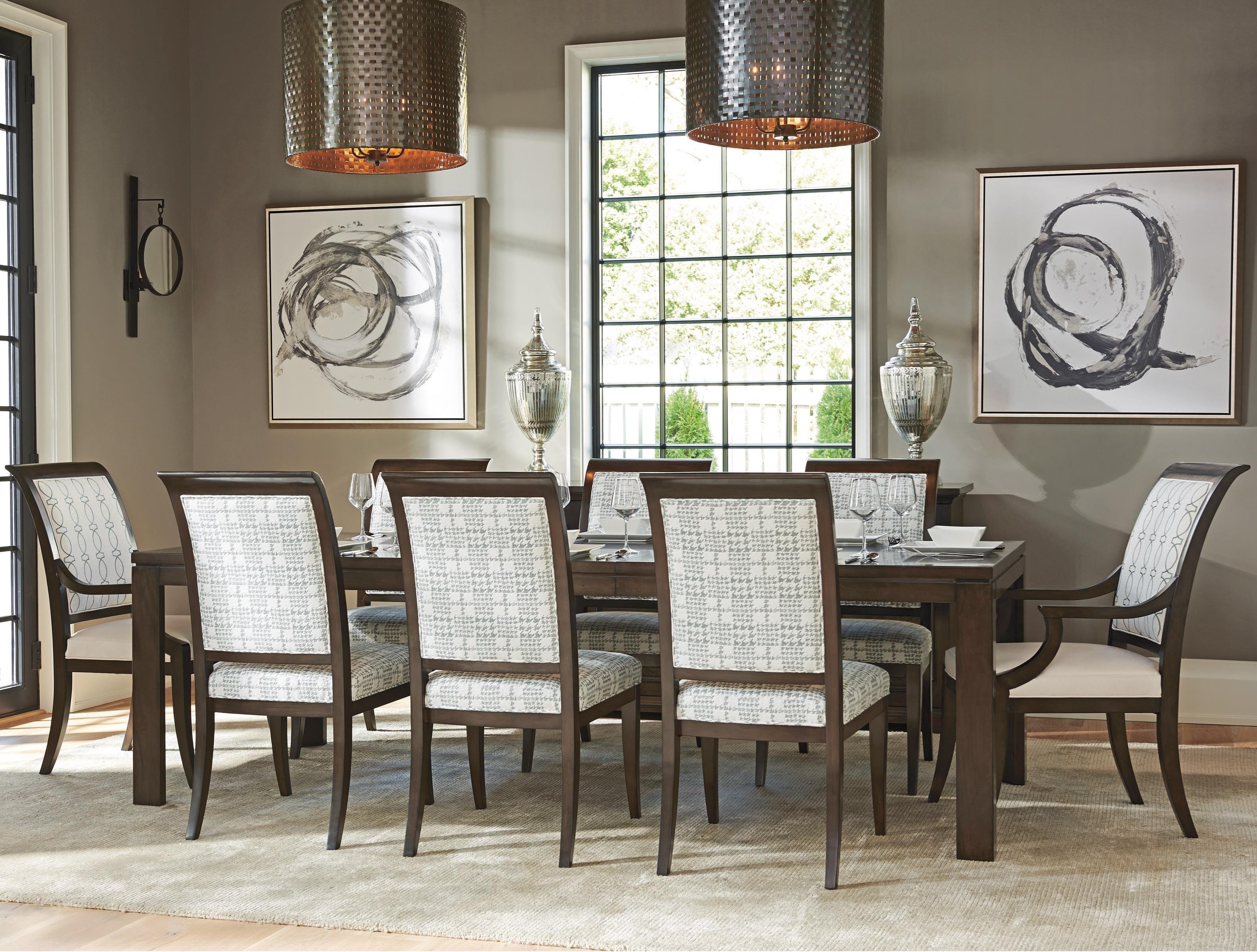 Barclay Butera Brentwood Nine Piece Dining Set With Oakmont Table And  Kathryn Customizable Chairs