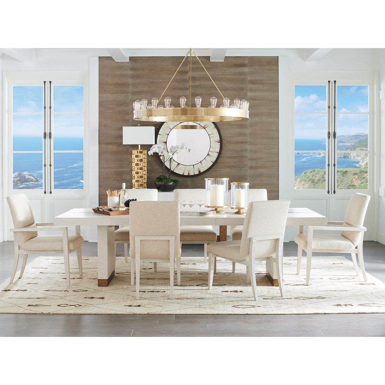 9-Piece Dining Set with Vista Table and Palermo Upholstered Chairs