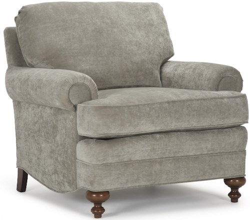 Barrymore Dickens Traditional Style Upholstered Chair with Rolled Arms