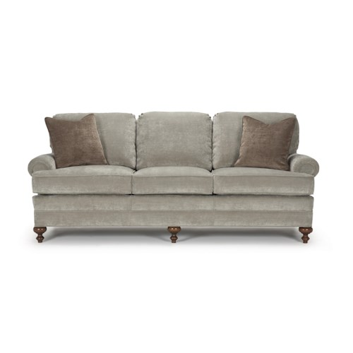 Barrymore Dickens Traditional Stationary Sofa with Turned Wood Feet