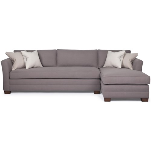 Barrymore Manhattan Transitional Sectional Sofa with Bench Cushion and Chaise
