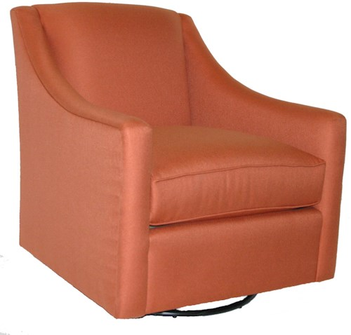 Bassett 1045 Transitional Upholstered Swivel Chair with Track Arms